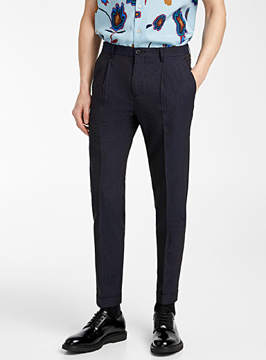 PS Paul Smith Blue Pleated seersucker pant for men