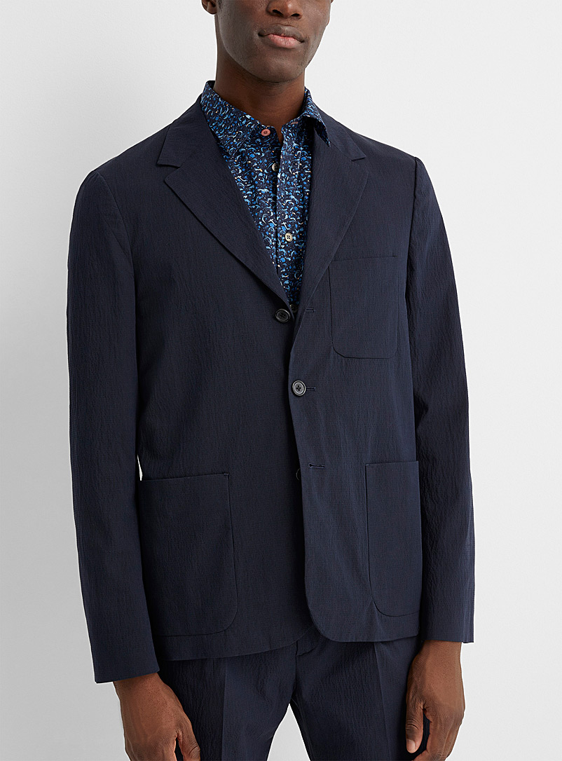 PS Paul Smith Marine Blue Finely striped cotton jacket for men