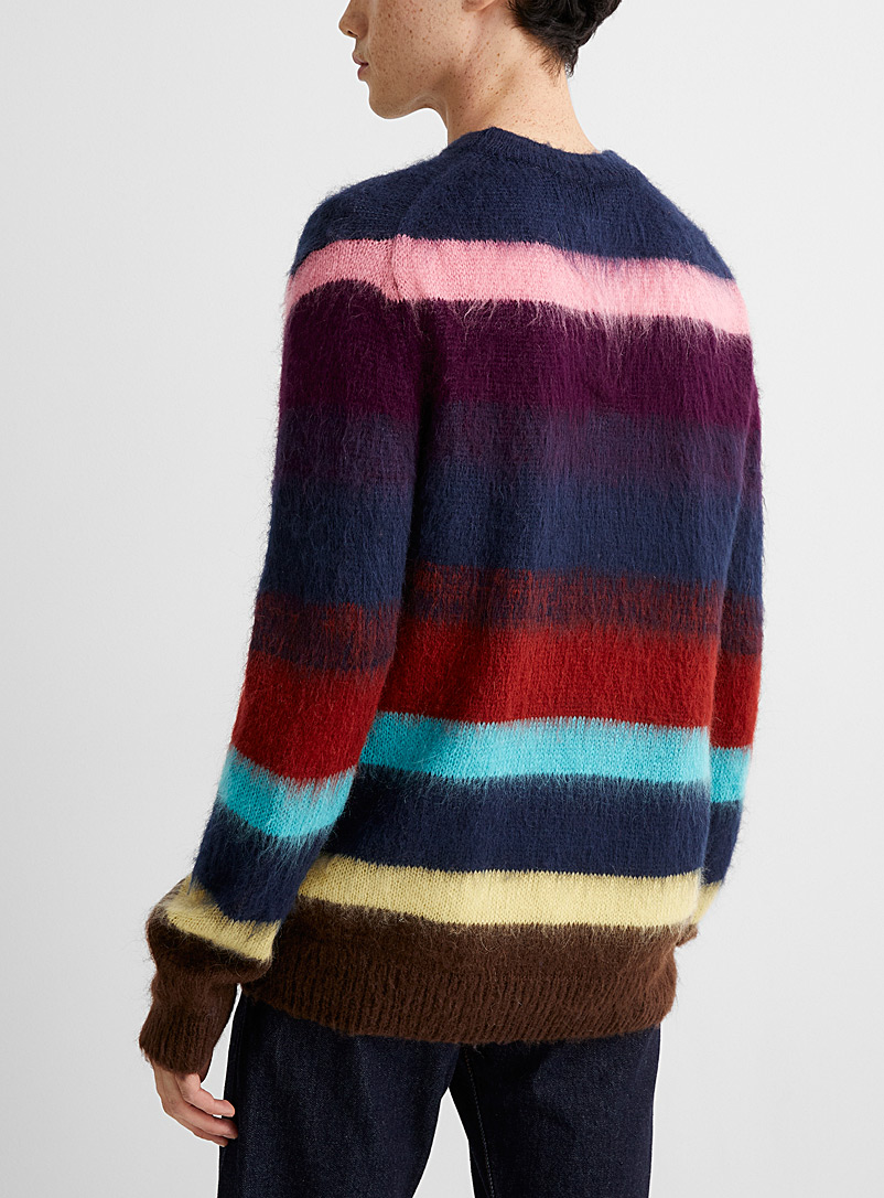 PS Paul Smith: Le pull mohair rayures ombrées Marine pour homme