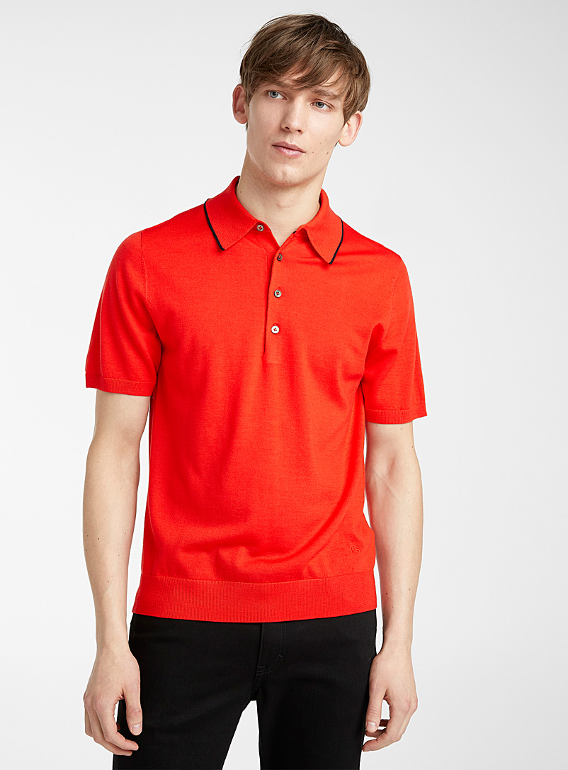 PS Paul Smith Red Bright knit polo for men