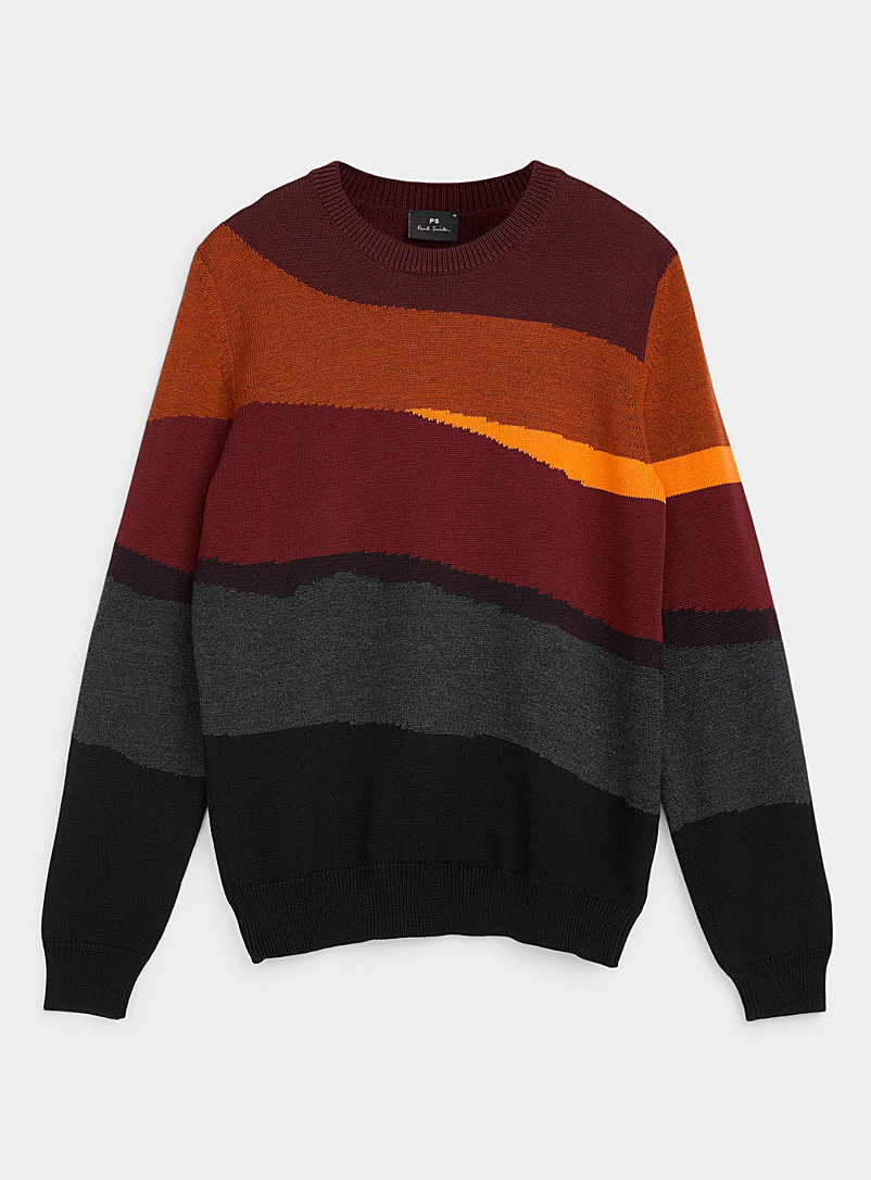 PS Paul Smith Patterned Red Neon accent abstract sweater for men