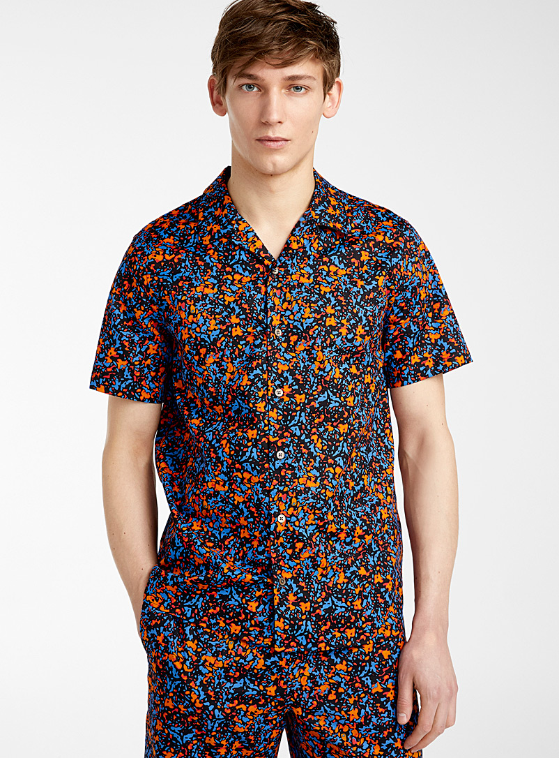 PS Paul Smith Marine Blue Heat Map Floral shirt for men