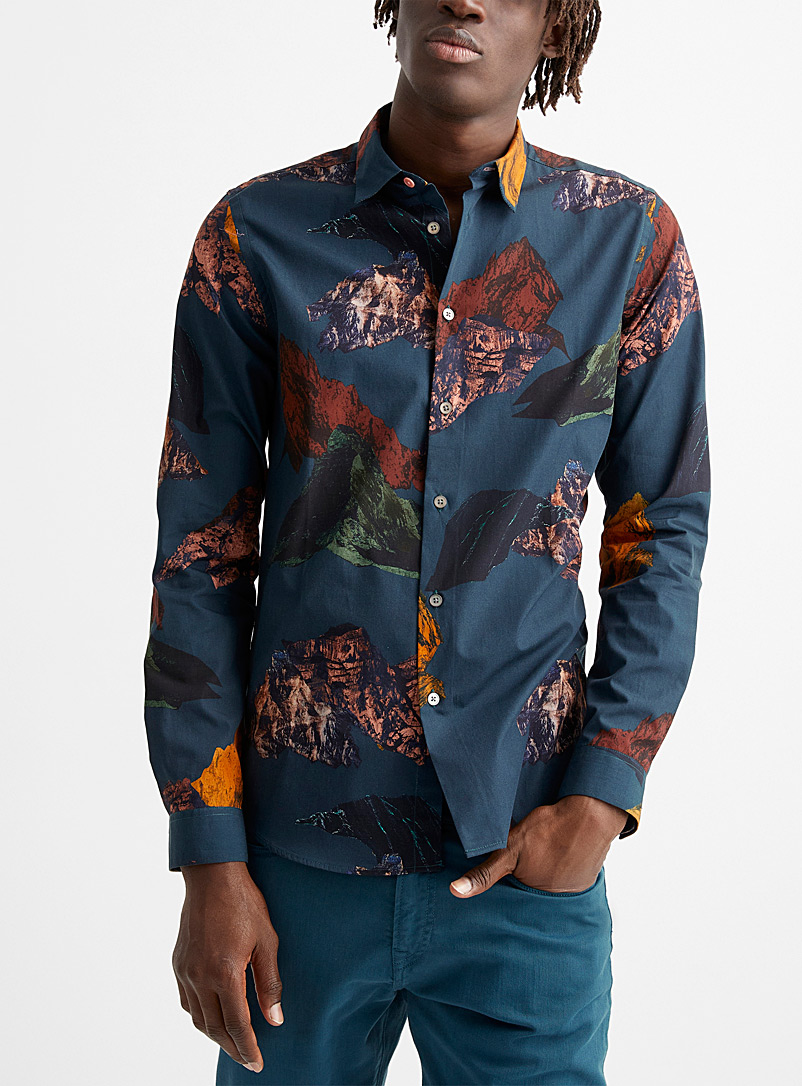 PS Paul Smith Light Brown Mountain print shirt for men