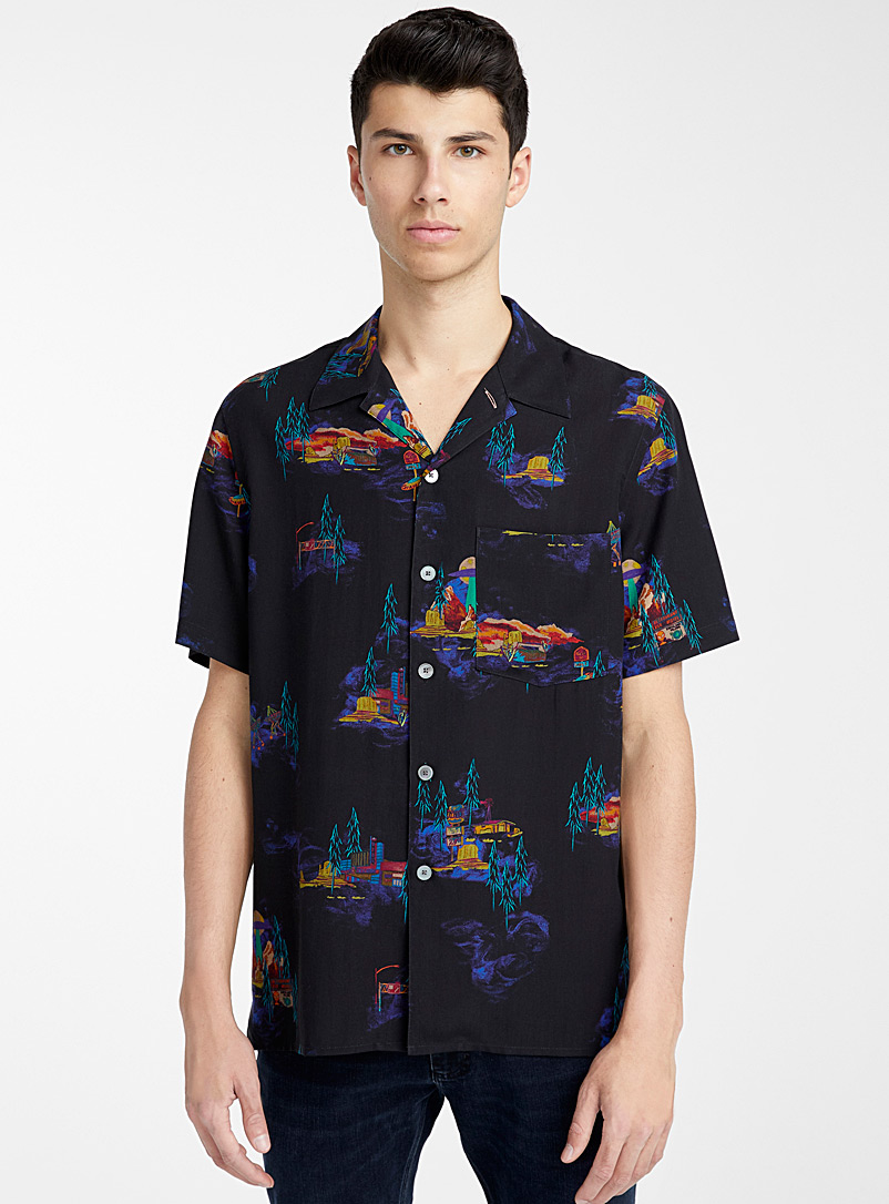 PS Paul Smith Marine Blue UFO Highway shirt for men