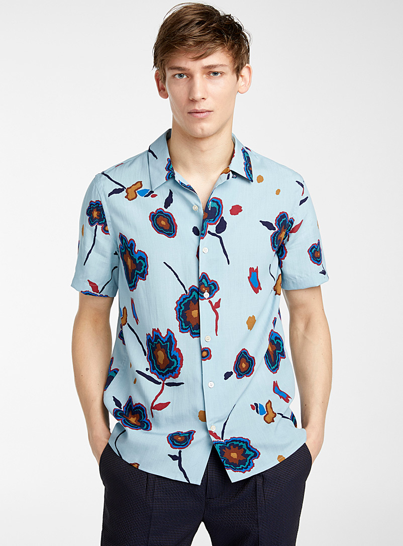 PS Paul Smith Baby Blue Soft Heat Map Floral shirt for men