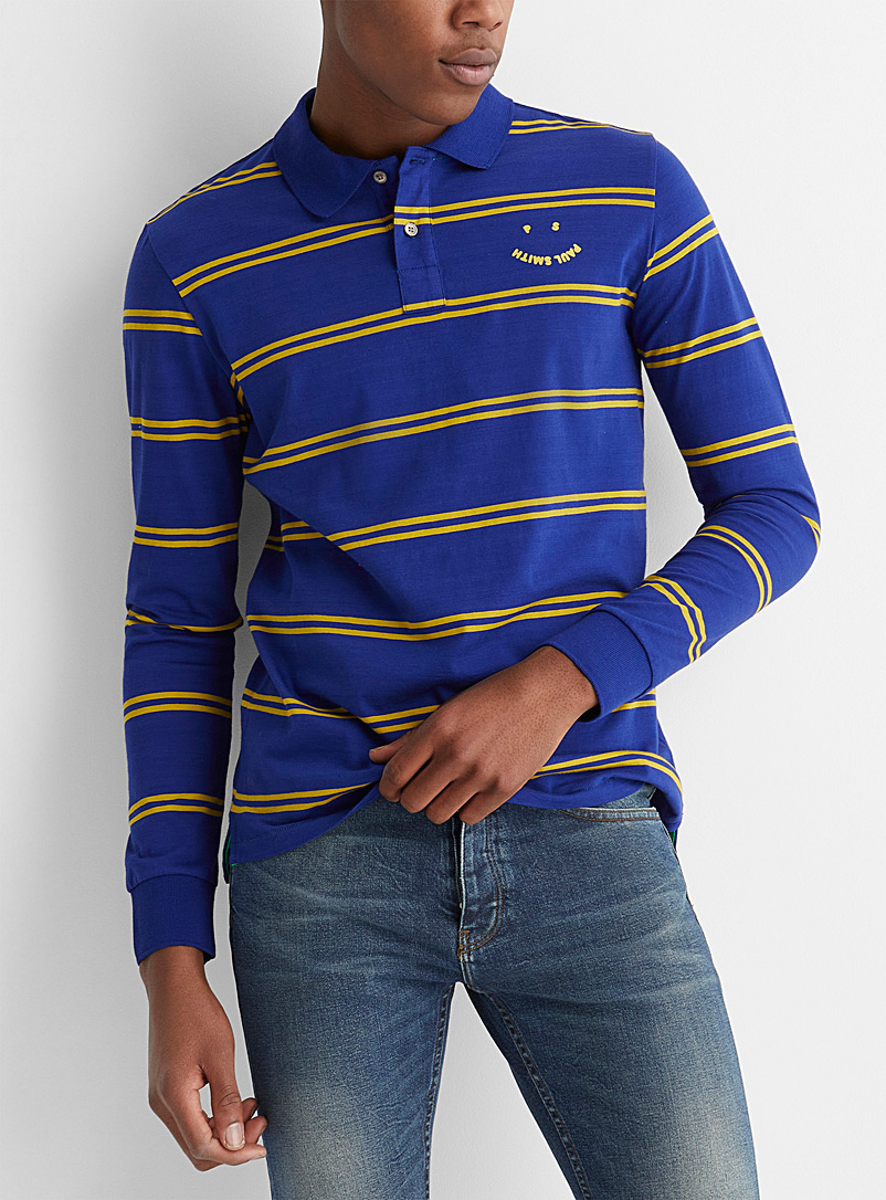 PS Paul Smith Blue PS Happy striped polo for men