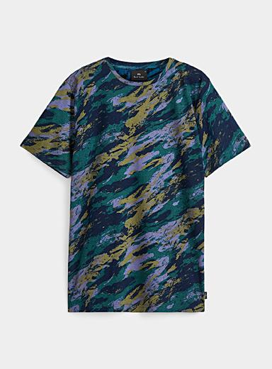 PS Paul Smith Patterned Blue Neo-camo T-shirt for men