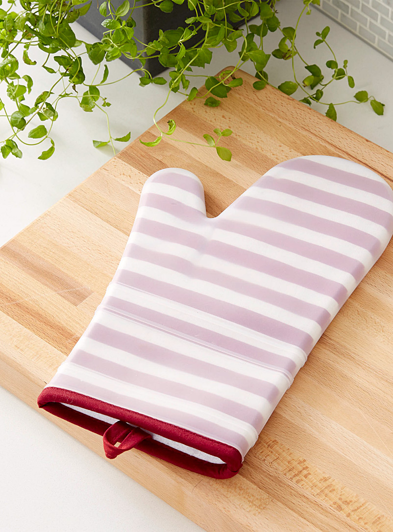 Simons Maison Patterned Red Transparent stripe silicone oven mitt