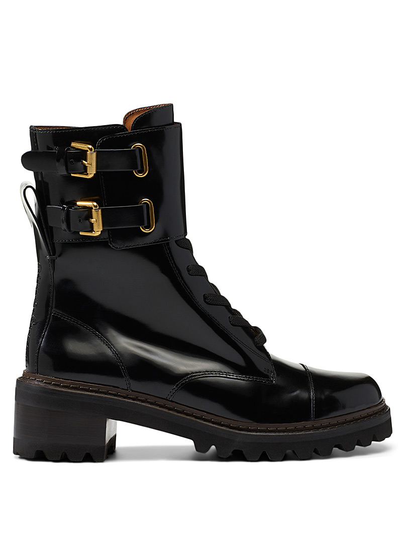 See by Chloé Black Mallory combat boots for women