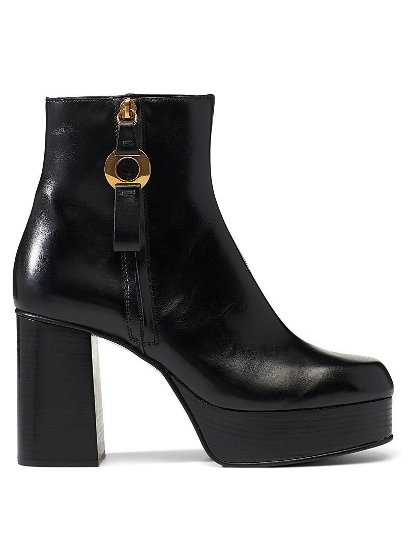 See by Chloé Black Jenny platform heeled boots for women