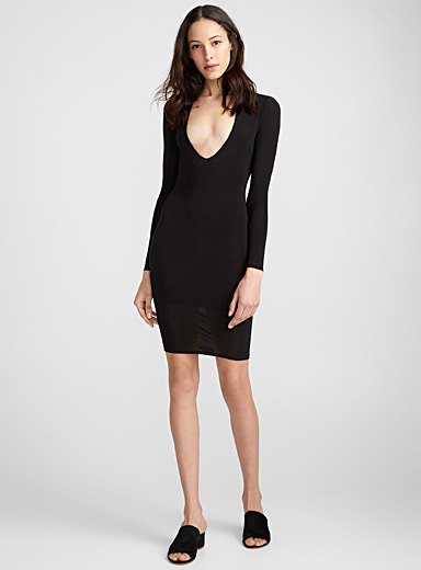 Plunging V-neck silky black dress