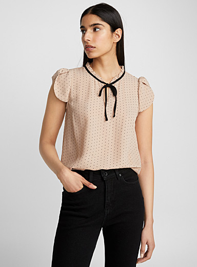 Accent collar pin dot blouse