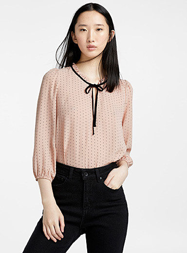 Romantic dot ruffle-collar blouse