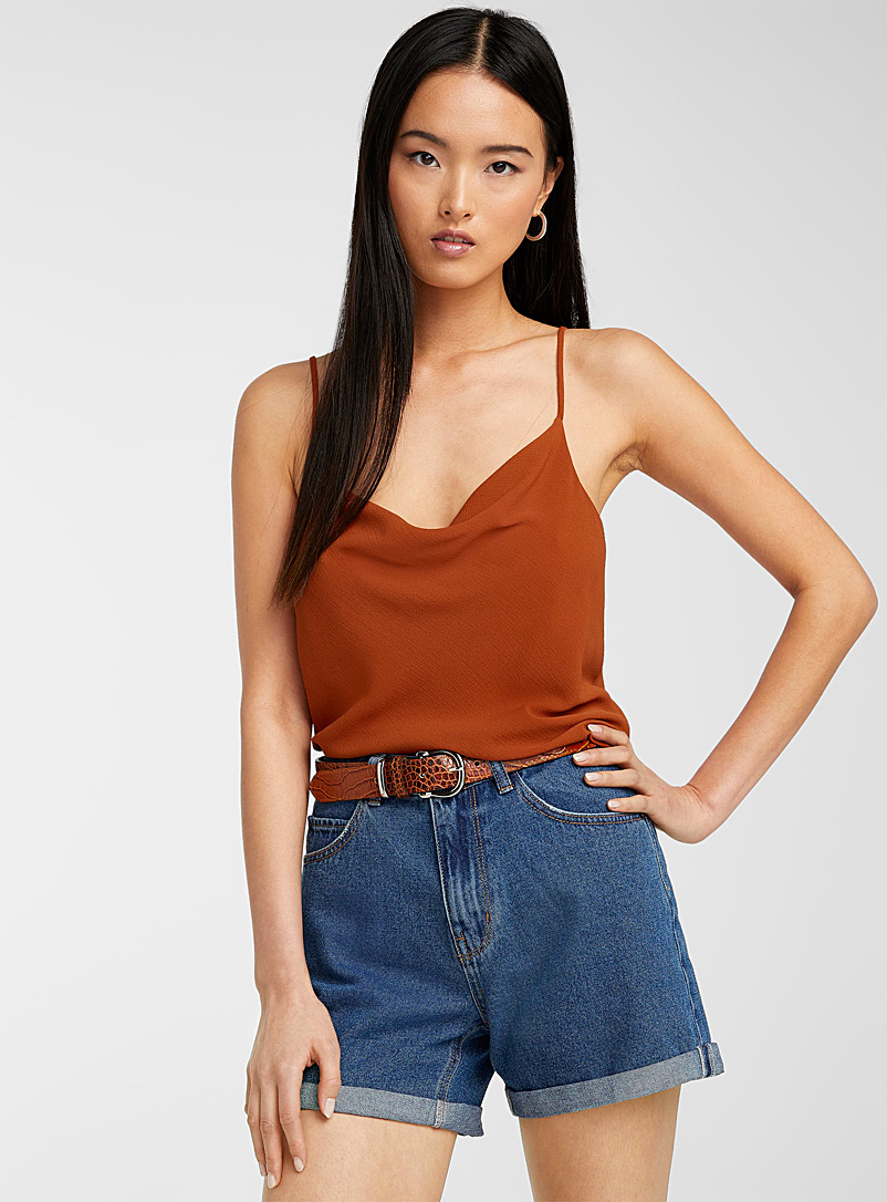 Icône Brown Drape-neck solid cami for women