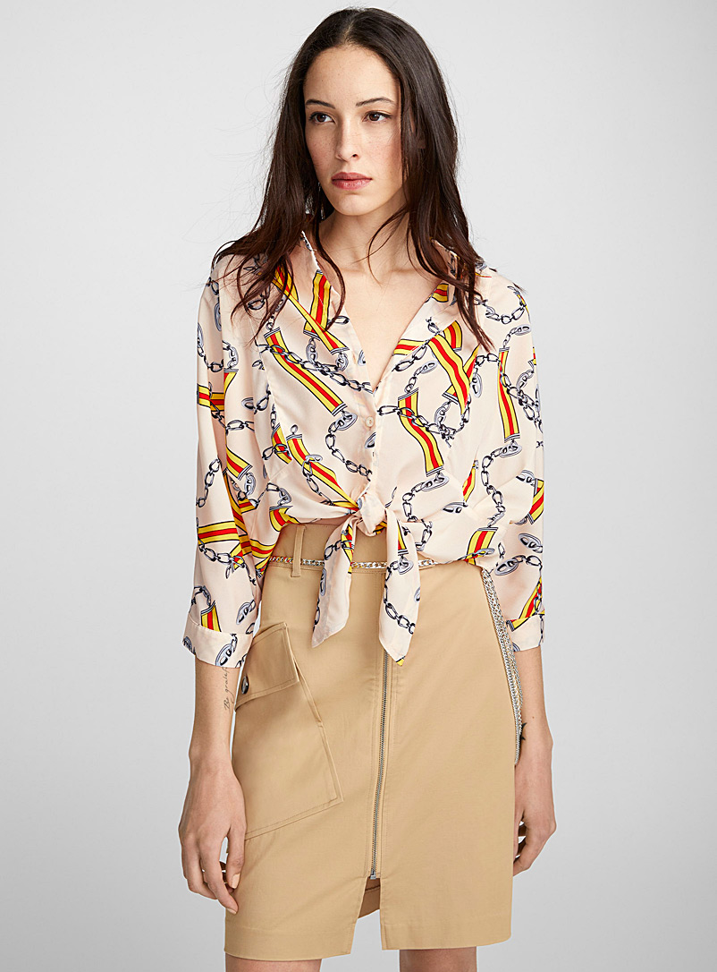 Chain and ribbon shirt - Shirts - Patterned Ecru