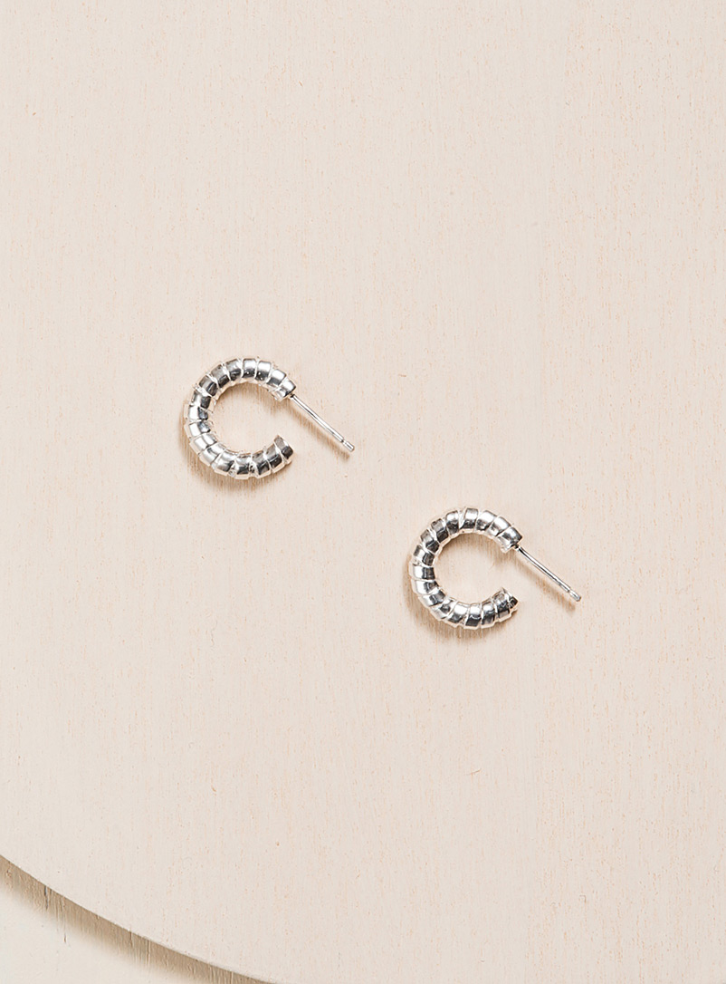 Small twisted silver hoops