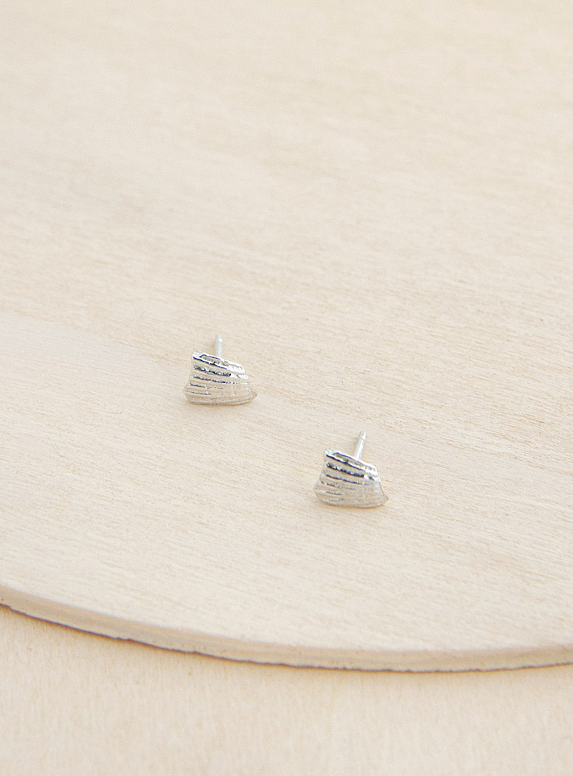 Camillette Silver Silver shell earrings
