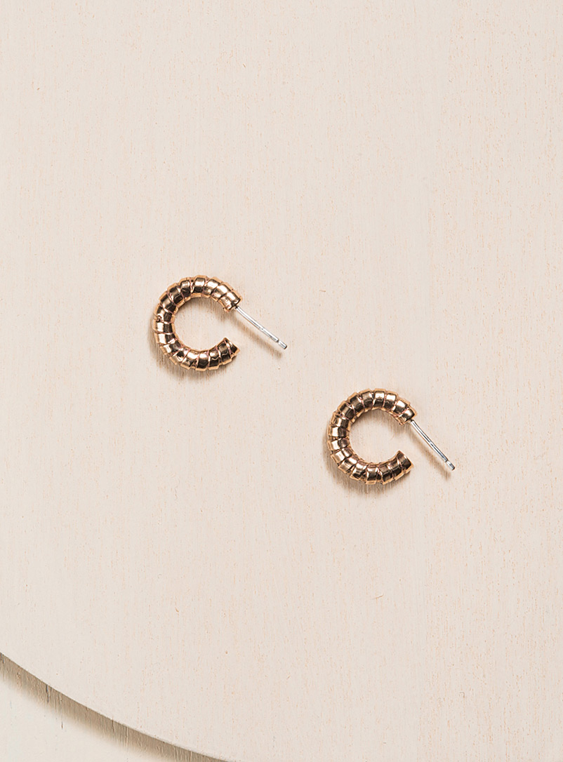 Camillette Assorted Solid bronze small twisted hoops