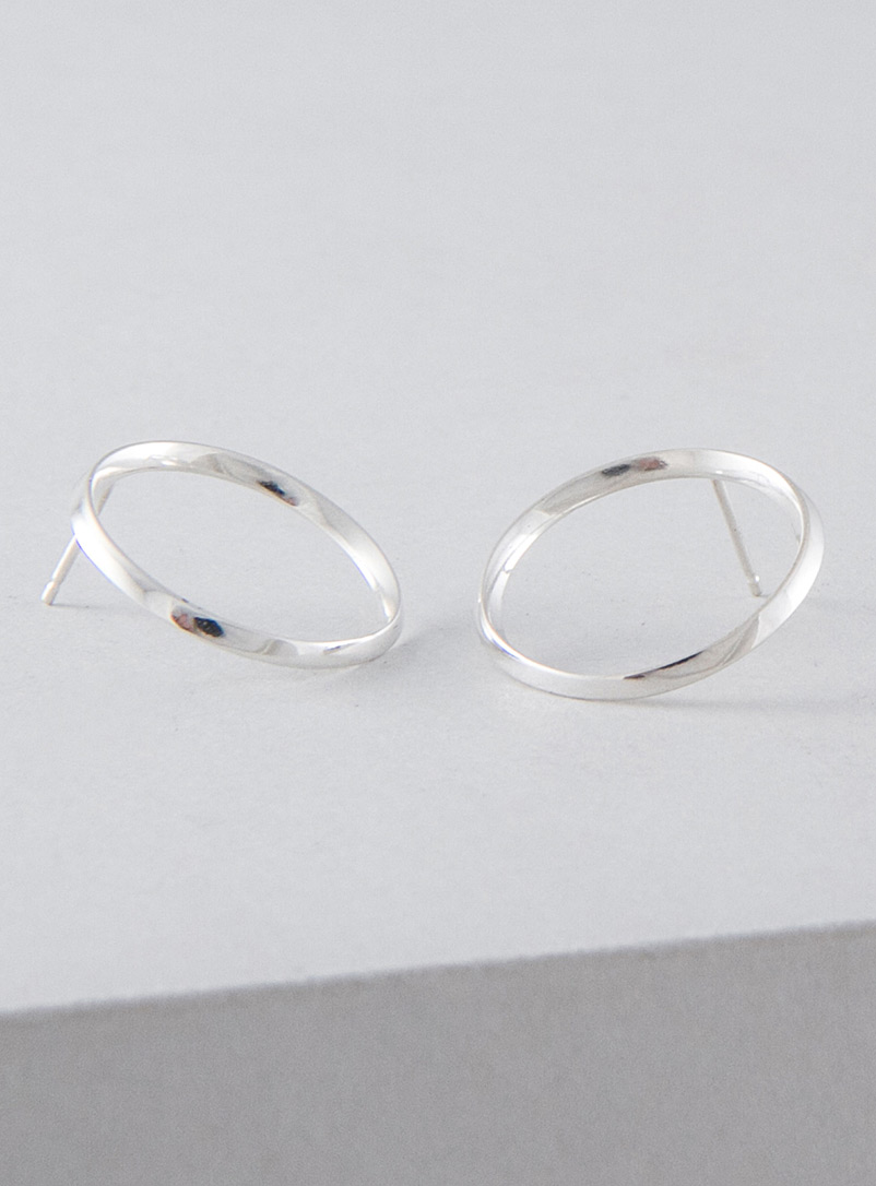 Camillette Silver Flat hoop earrings