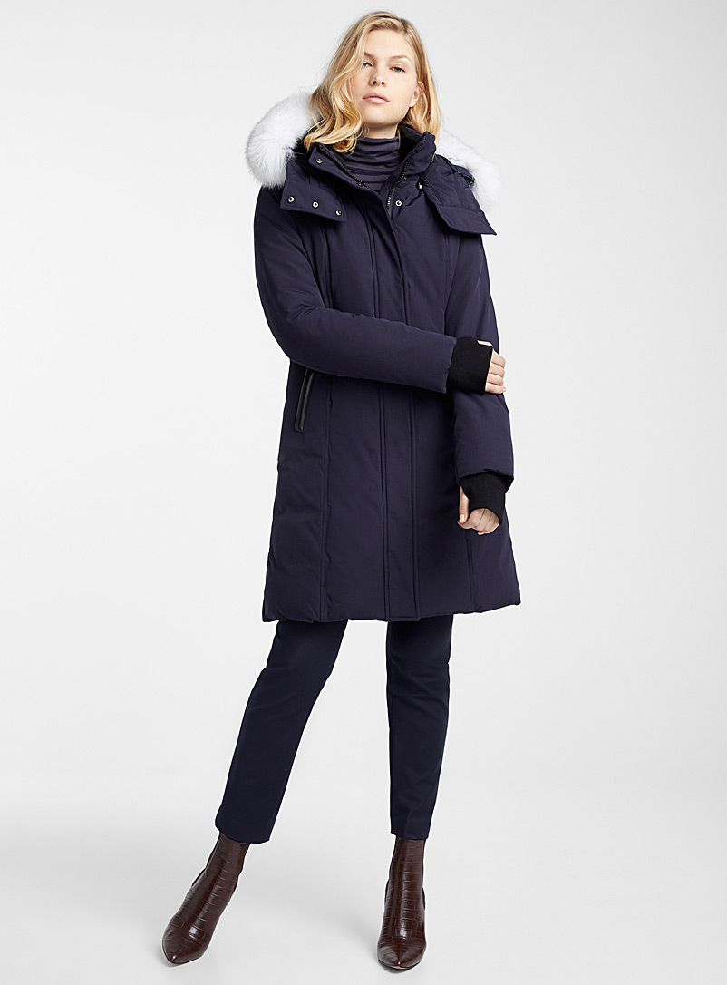 Rachael fur-accent parka - Anoraks and Parkas - Marine Blue