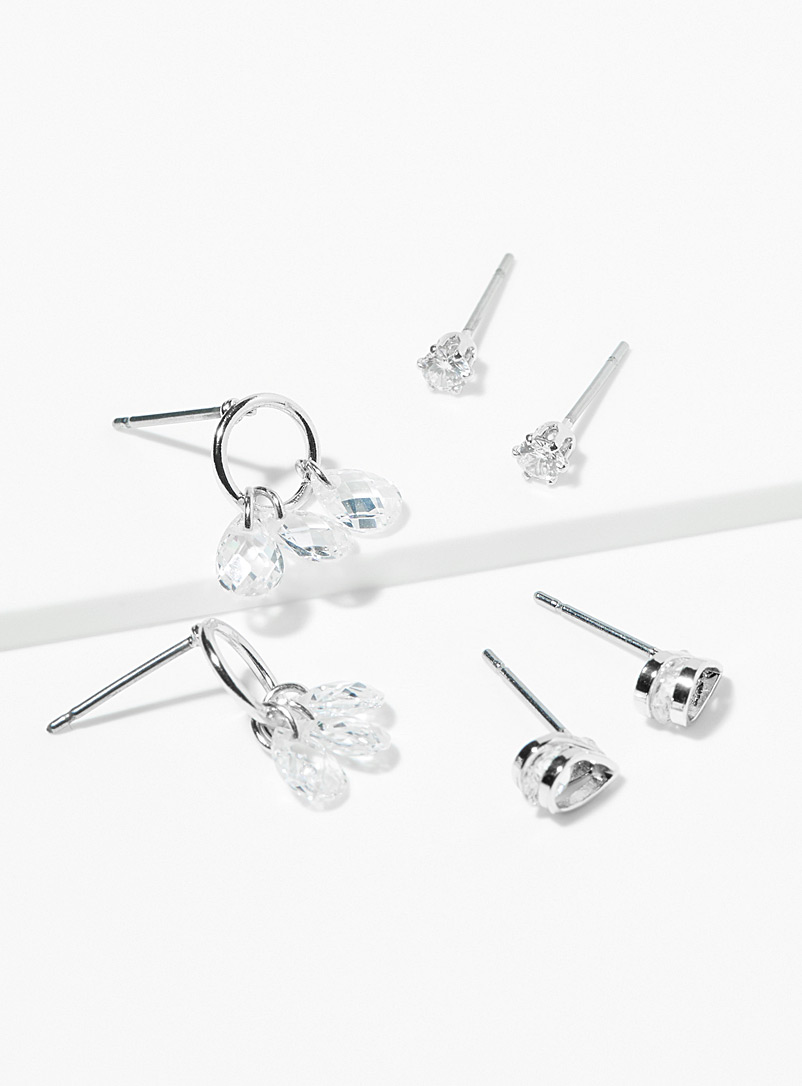 Simons Assorted Crystal tears earrings  Set of 3 pairs for women