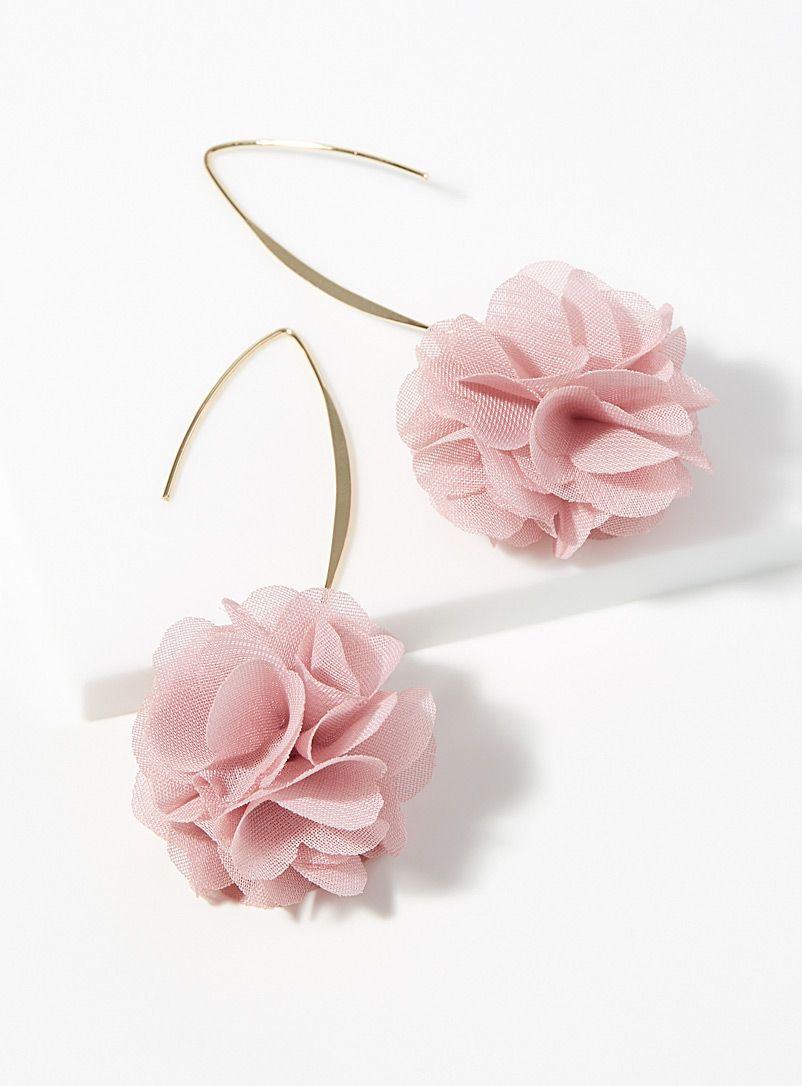 Simons Pink Flowery pompom earrings for women