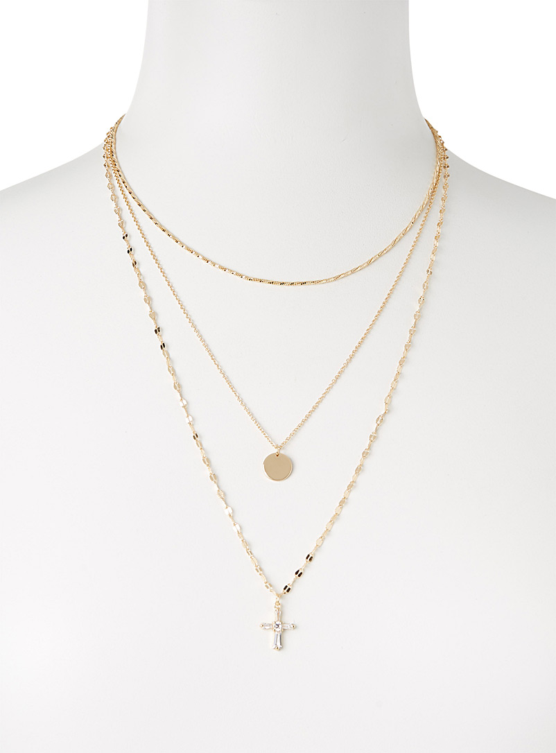 Simons Silver Cross multi-row necklace for women