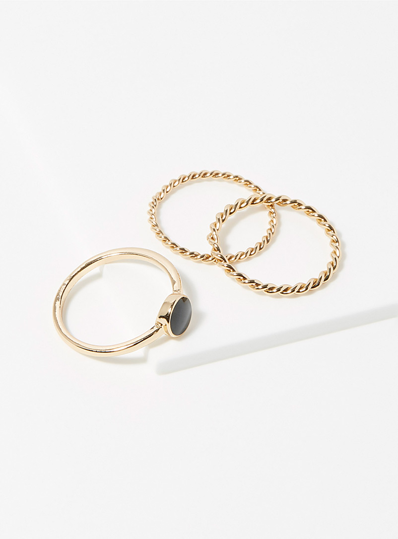 Minimalist chic rings  Set of 3 - Rings - Patterned gold