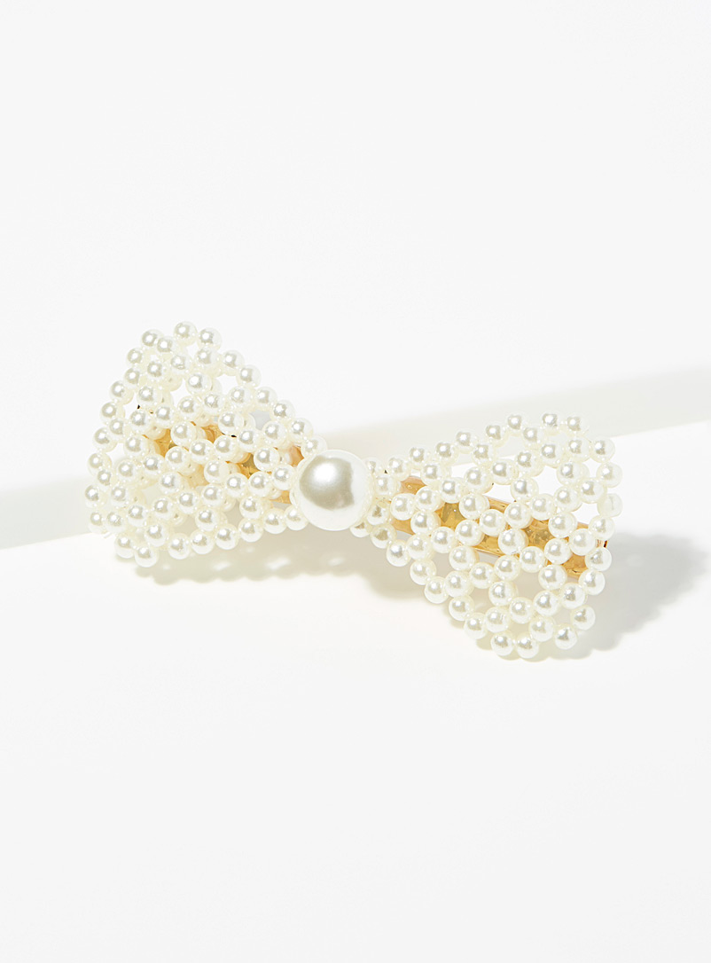 Pearly bow clip - Barrettes and Clips - Cream Beige