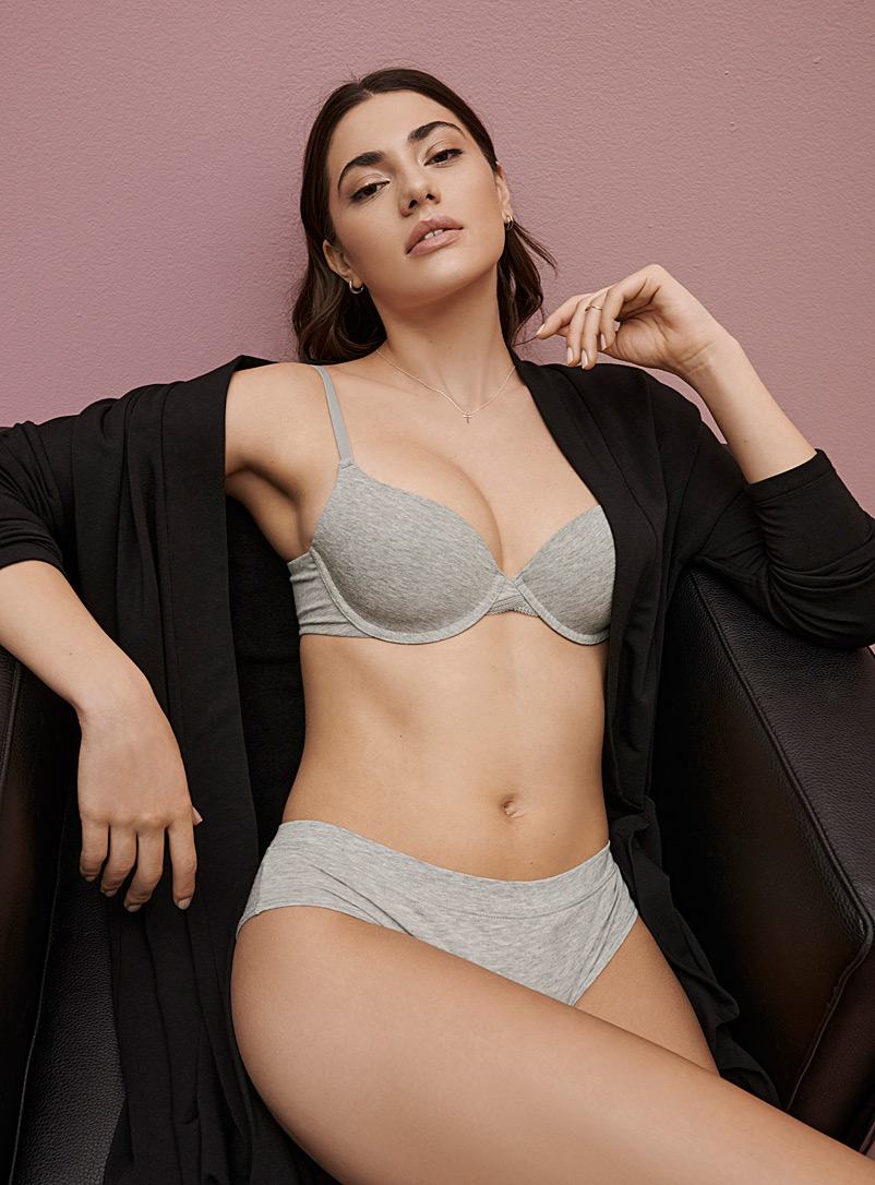 Miiyu Grey Cotton full-coverage bra for women
