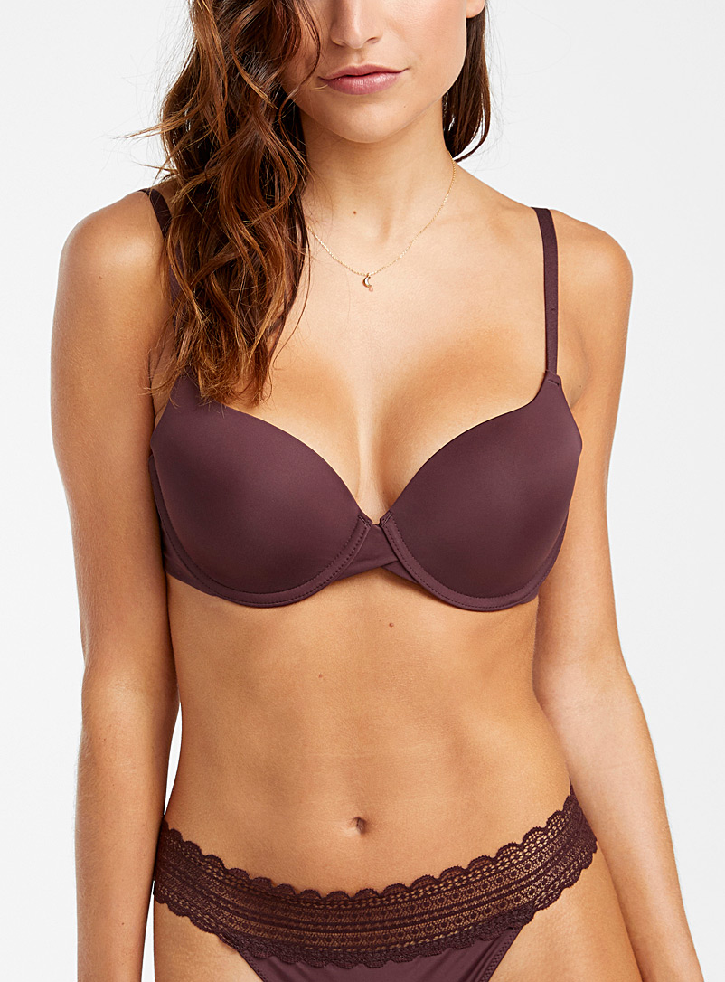 Miiyu Dark Brown Hydra romantic plunge bra for women