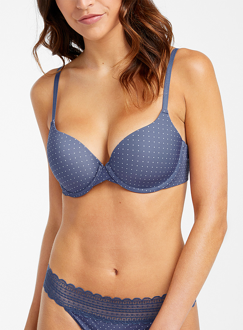 Miiyu Patterned Blue Hydra romantic plunge bra for women