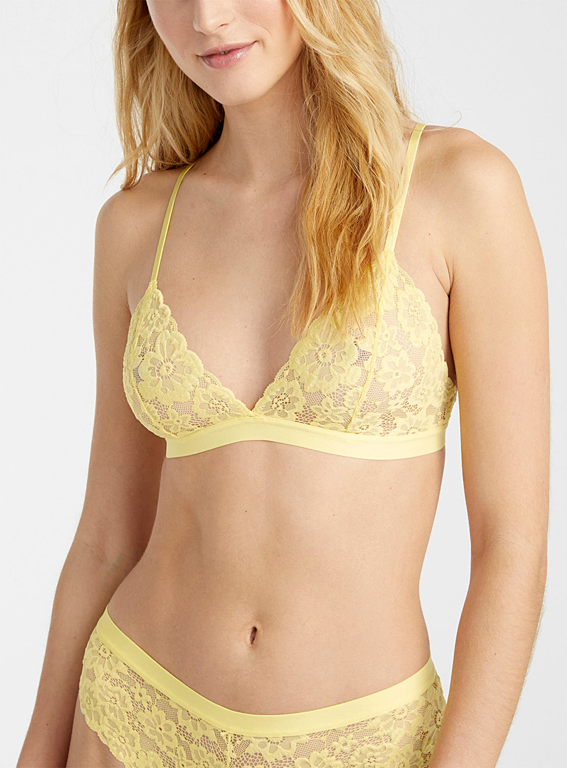 Miiyu Light Yellow Neon lace bralette for women