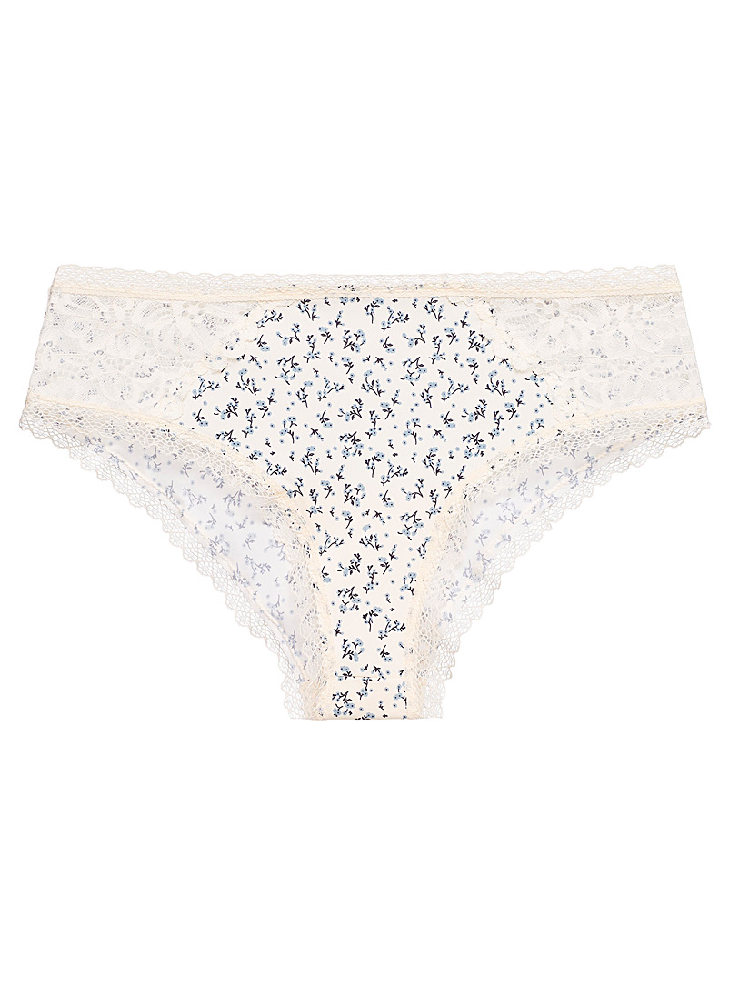 Miiyu Patterned Ecru Lace and microfibre essential hipster for women
