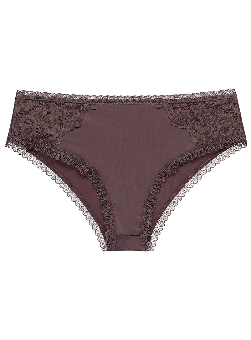 Miiyu Dark Brown Lace and microfibre essential hipster for women