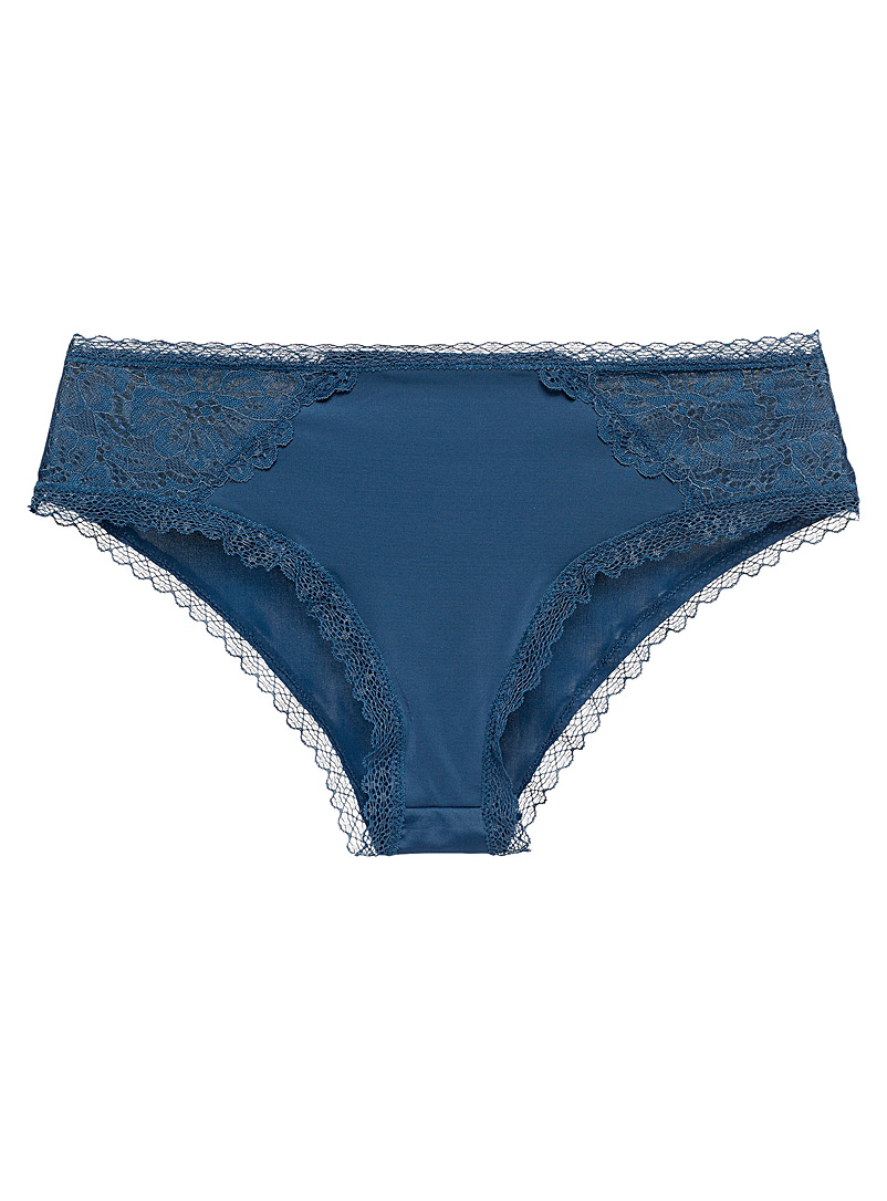 Miiyu Dark Blue Lace and microfibre essential hipster for women