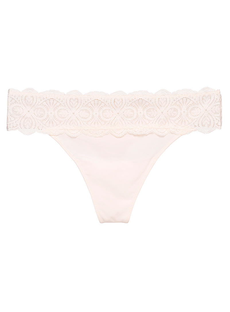 Miiyu Dusky Pink Microfibre and lace thong for women