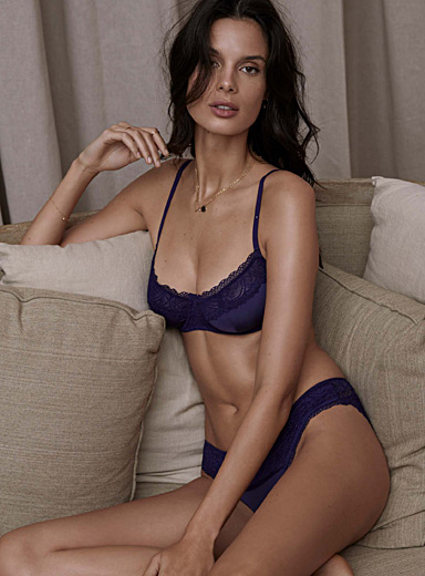 Midnight lace balconette bra