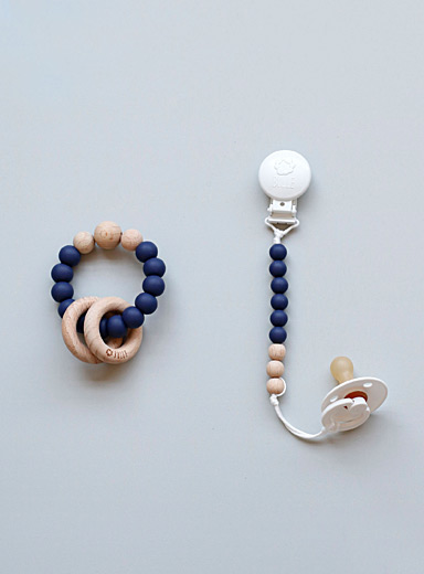 Bulle Blue Rattle and pacifier clip duo