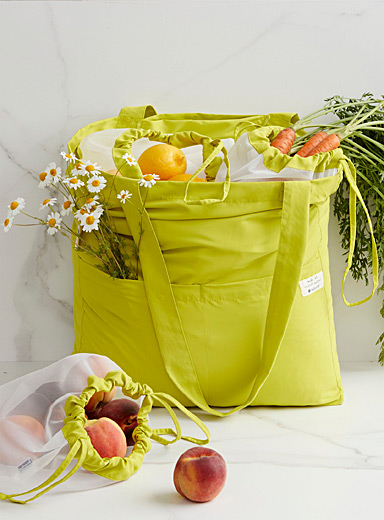 Full Circle Lime Green Recycled plastic reusable grocery bags  4-piece set