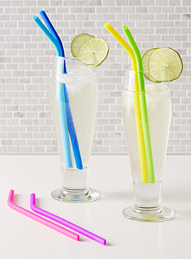 Fruit cocktail reusable straws  Set of 6