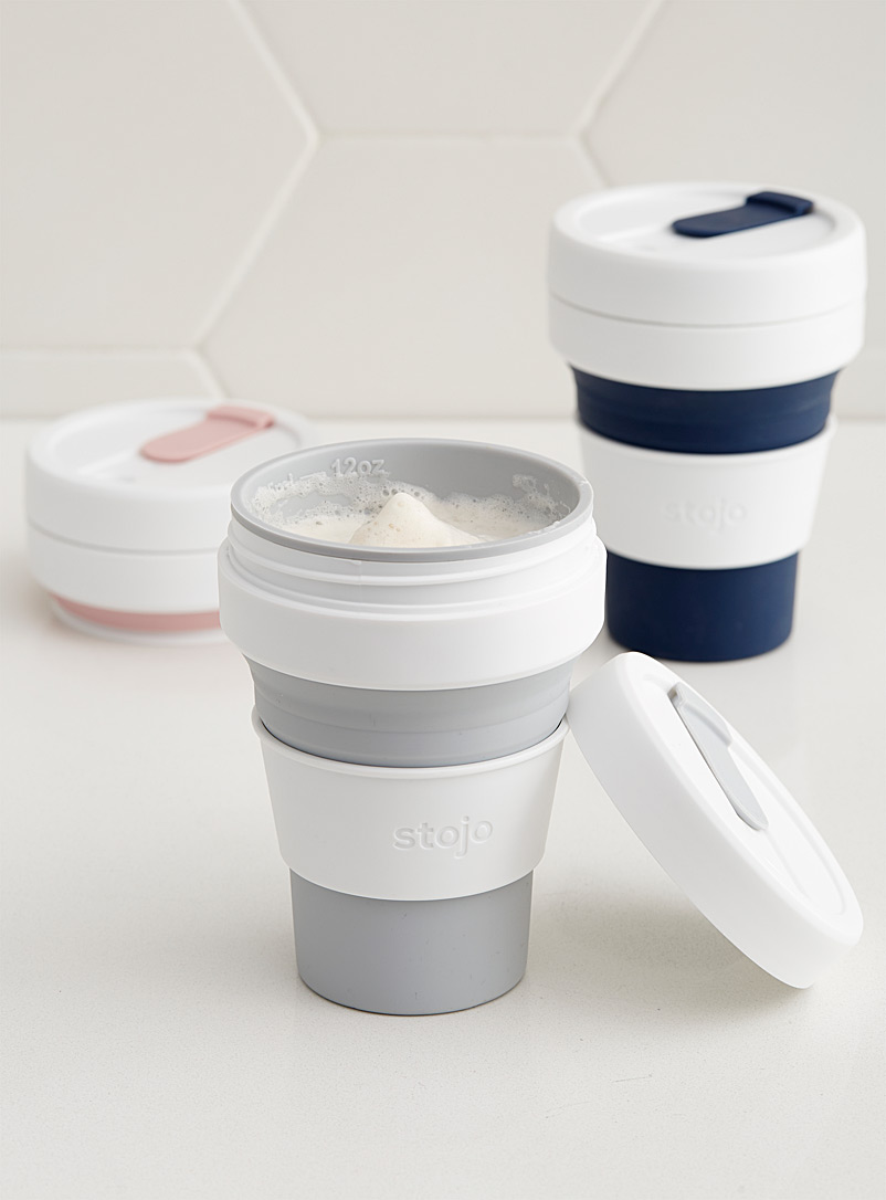 Stojo Light Grey 12 oz. collapsible silicone cup