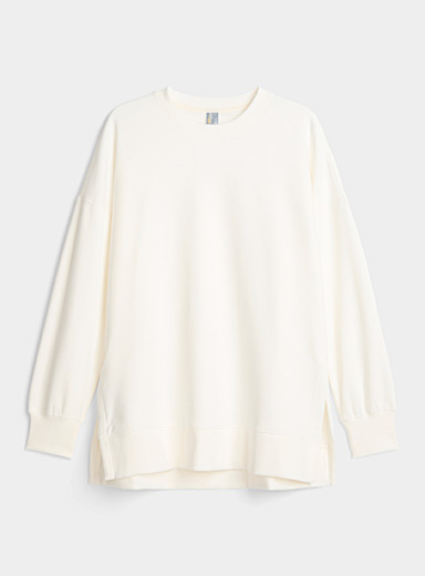 Miiyu x Twik Ivory White Fleece-lined lounge sweatshirt for women