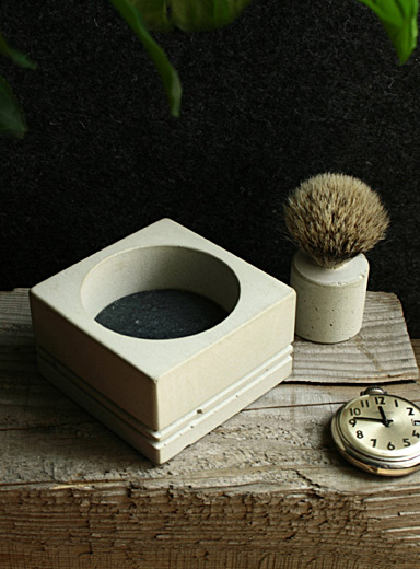 Soap, concrete bowl and walnut shaving brush set