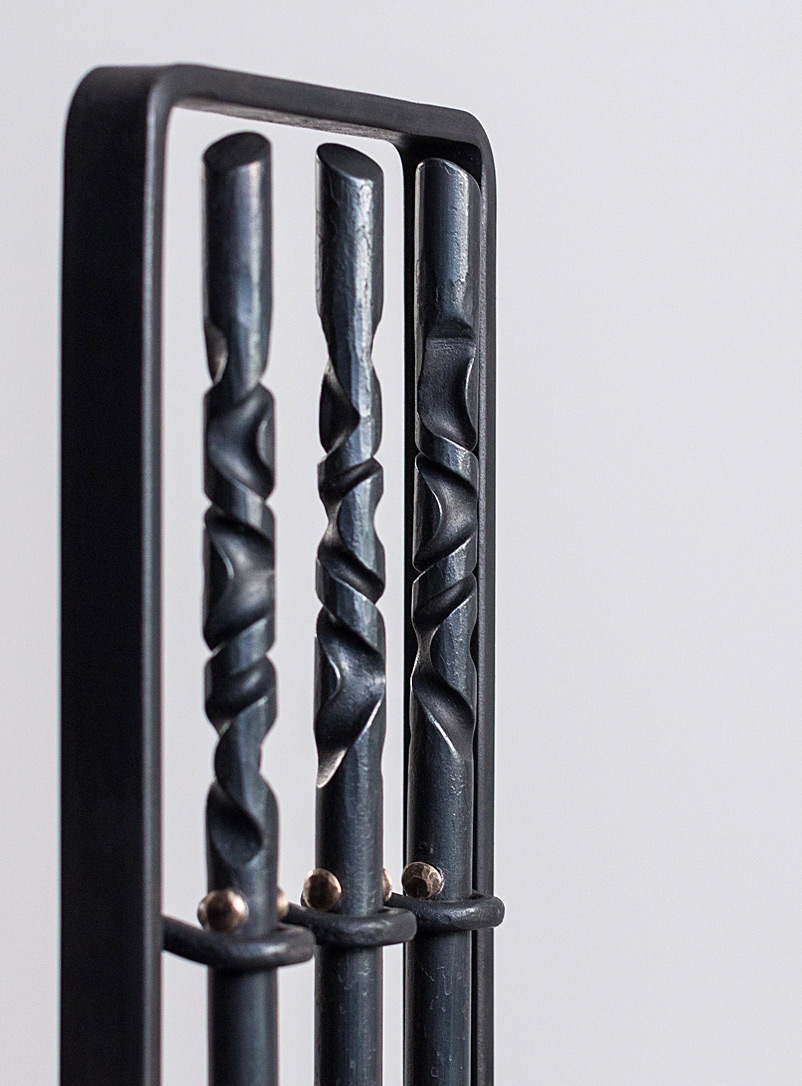 Forged fireplace tools  4-piece set - Thomas Lefebvre - Assorted