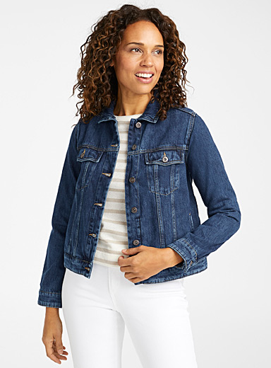 Contemporaine Slate Blue Essential organic cotton jean jacket for women