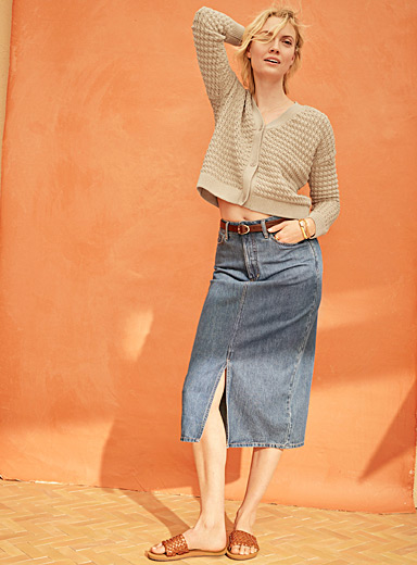 Soft organic cotton denim skirt