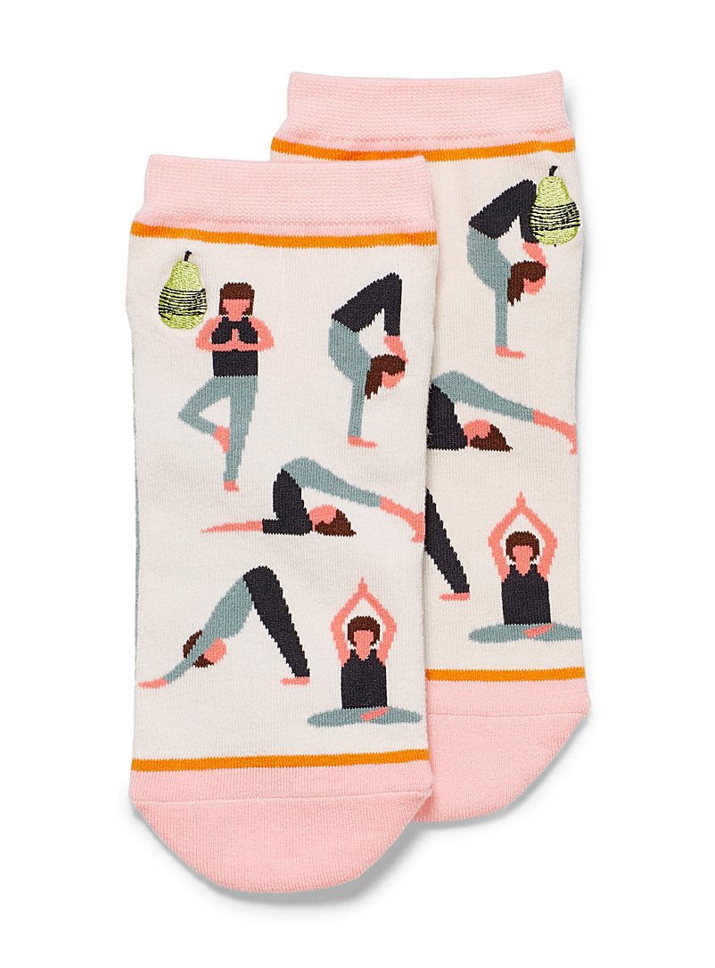Woven Pear Pink Namaste socks for women
