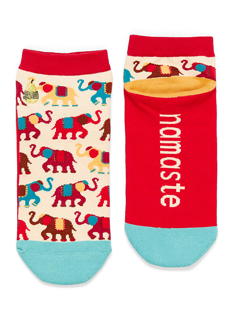 Woven Pear Assorted red  Painted Elephants ankle socks for women