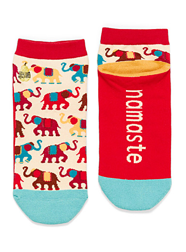 Woven Pear: Le bas cheville Painted Elephants Rouge assorti pour femme